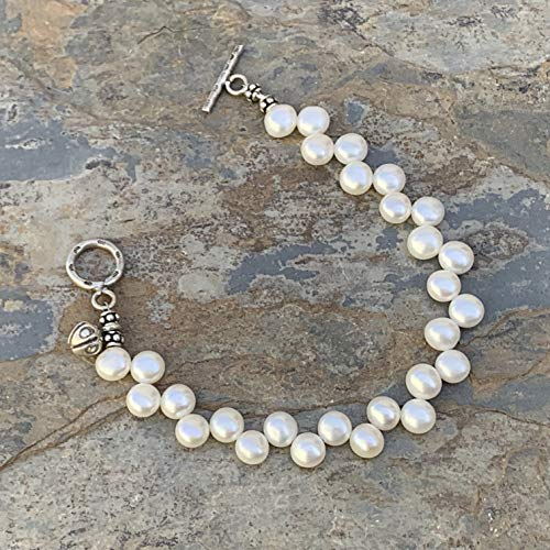 (Pearl Bracelet with Sterling Hill Tribe Silver, 7.5 inch)