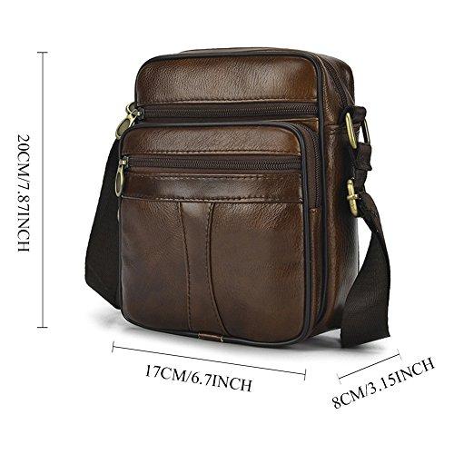 Crossbody Messenger Briefcase Realmark Bag Shoulder Brown Genuine 039 Men`s Bag Business Leather Purse qfWUUtSFw