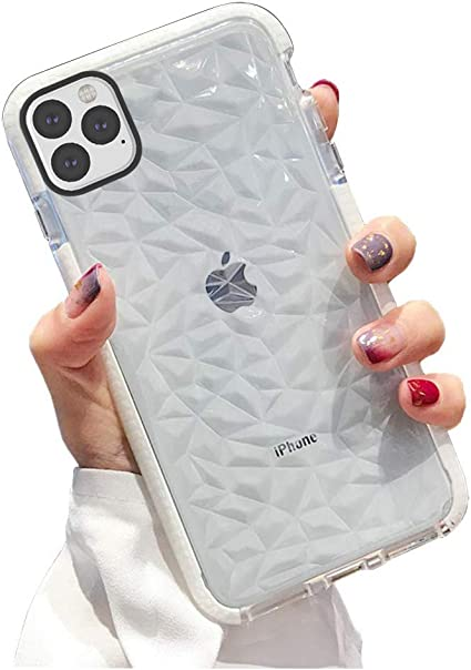 Amazon Com Kumtzo Compatible Iphone 11 Pro Max Case Crystal Clear Slim Diamond Pattern Soft Tpu Anti Scratch Shockproof Protective Cover For Women Girls Men Boys With Iphone 11 Pro Max 6 5 Inch
