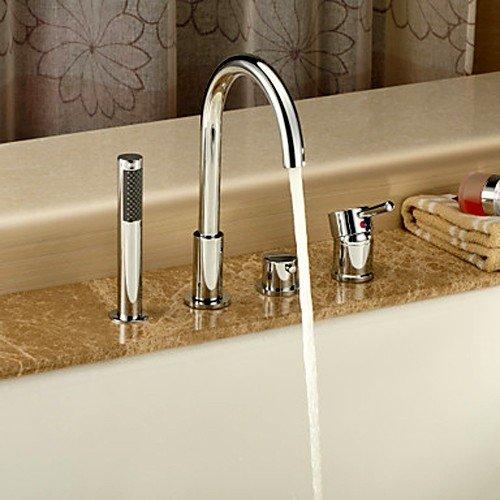 es Bathroom Bathtub Faucet Roman Tub Filler with Handheld Shower,Chrome (Roman Tub Base Set)