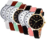 Wholesale! Hmlai 7 pack Women Casual Checkers Faux Leather Quartz Analog Wrist Watch
