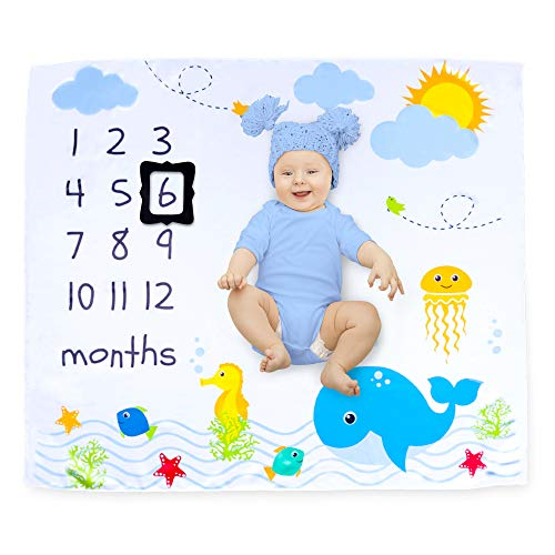 Cocoon Kids Sea Baby Monthly Milestone Photo Backdrop for Boys and Girls | Gender-Neutral Newborn Photography Props for Awesome Memory Book Pictures