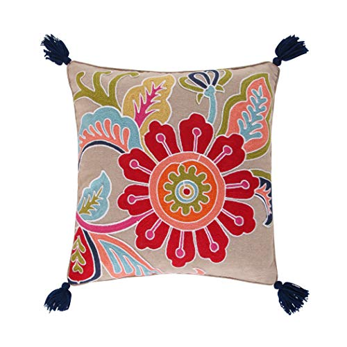 Levtex Jules Crewel Flower Tassel Pillow, Paisley, Cotton, Taupe, Blue, red