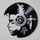 Vinyl Record Wall Clock Prince Rogers Nelson Guitar Music Legend Purple Rain Decor Unique Gift Ideas for Friends him her Boys Girls World Art Design Review
