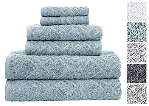 Classic Turkish Towels 6 Piece Cotton Bath Towel Set - Luxury Soft and Thick Bath Towels 600 GSM Made with 100% Turkish Cotton (Sea Grass) from Classic Turkish Towels