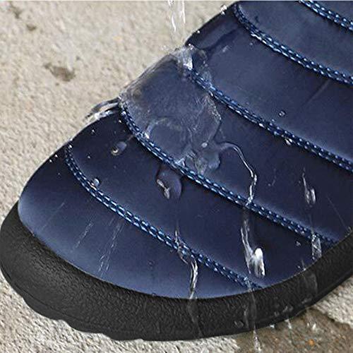 Impermeabile Uomini Stivaletti Addensare Blu Hzjundasi Scuro Fatto Antiscivolo Neve da Neve Uomo Cotone Scarpe di Stivali da Appartamenti Retro a Mano PHxHI0aw