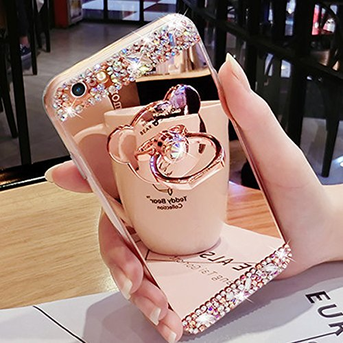 iPhone 7 Case,iPhone 7 Glitter Case,IKASEFU Luxury Crystal Rhinestone Soft Silicone Rubber Bumper Bling Diamond Glitter Mirror Makeup Case Cover with Bear Ring Stand Holder for iPhone 7 4.7