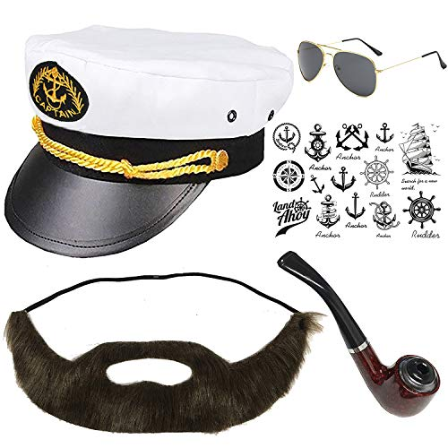 Yacht Captain & Sailor Costume Set - Hat,Corn Cob Pipe,Aviator Sunglasses,Vintage Anchor Temporary Tattoo (OneSize, C2-3)
