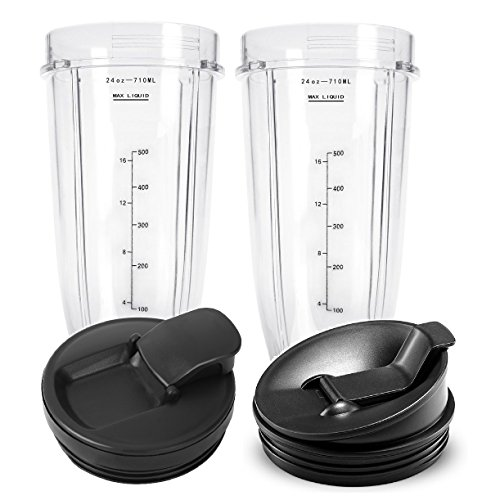 24 oz Cups, Compatible with BL480, BL490, BL640, BL680 for Nutri Ninja Auto IQ Series Blenders (Pack of 2) by BESSEEK