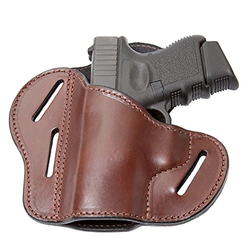 The Ultimate 3 Slot OWB Leather Gun Belt Holster - Fits S&W Shield/Glock/Springfield XD - Brown Left Handed