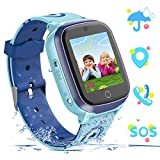 YENISEY Kids Smart Watch Waterproof GPS+WiFi Tracker for 3-12 Year Girls Boys,with SOS HD Touch Screen Two Way Call Phone Voice Chat Games Camera Alarm Clock Birthday Gifts Toys for Children (Blue)