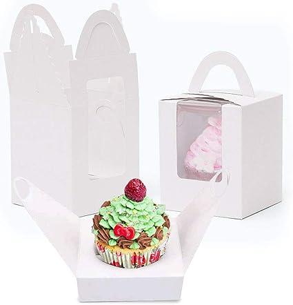 SNAGAROG 25 scatole in carta kraft per cupcake singole con manico e finestra trasparente per decorazioni di nozze