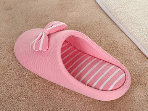 En Pantoufles color Style 3 Pink Pink Coton Andre Chaussure Size Japonais Silencieux Bas De Home 5TBqE