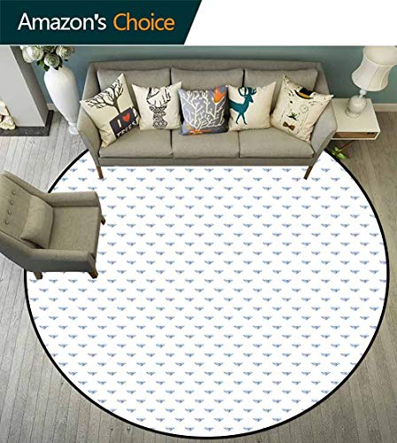 Diamonds Round Rug Baby Room,Geometrical Design Rhombuses and Lines on The Collection of Natural Rocks for Living Room,Baby Blue Pearl,D-67