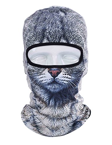[3D Animal Cycling Bike Outdoor Sports Ultra Thin Balaclava, Face Mask, Neck Warmer (Grey Cat)] (Ski Costumes)