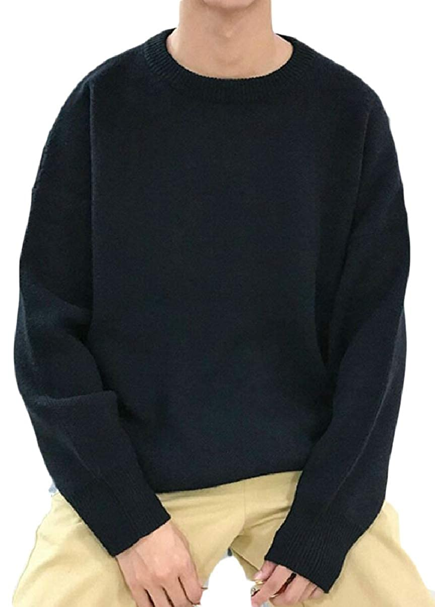 CBTLVSN Mens Fashion Loose Fit Round Neck Solid Knitted Pullover Sweaters