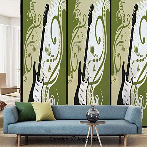 AngelSept Glass Sticker,Electric Bass Guitar Figure with Swirls Background Artful Illustration,W15.7xL63in,for Living Room Bathroom Kitchen Front Door,Olive Green White Black