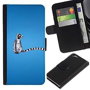 EJOY---La carpeta del tirón la caja de cuero de alta calidad de la PU Caso protector / Apple Iphone 6 / --Madagascar Mono divertido