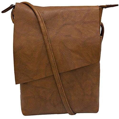 ili New York 6647 Leather Mini Sac Flap Crossbody (Antique Saddle) - Sac Antique