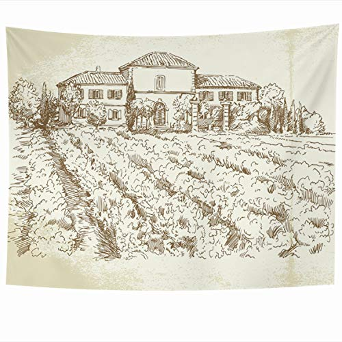 (Ahawoso Tapestry 80 x 60 Inches Graphic House Vineyard Hand Drawn Wine France Vintage Farm Villa Design Home Decor Wall Hanging Tapestries for Living Room Bedroom)