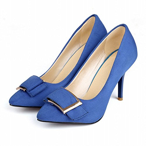 Carolbar Mujeres Cuff Fashion Sexy Charming Elegance Stiletto Bombas De Tacón Zapatos Azul