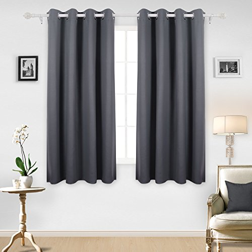 Deconovo Solid Thermal Insulated Blackout Curtains Luxurious Texture Embossed Marble Design Grommet Top Curtains for Living Room 52W x 63L One Pair Light (Ivory Marble Top)