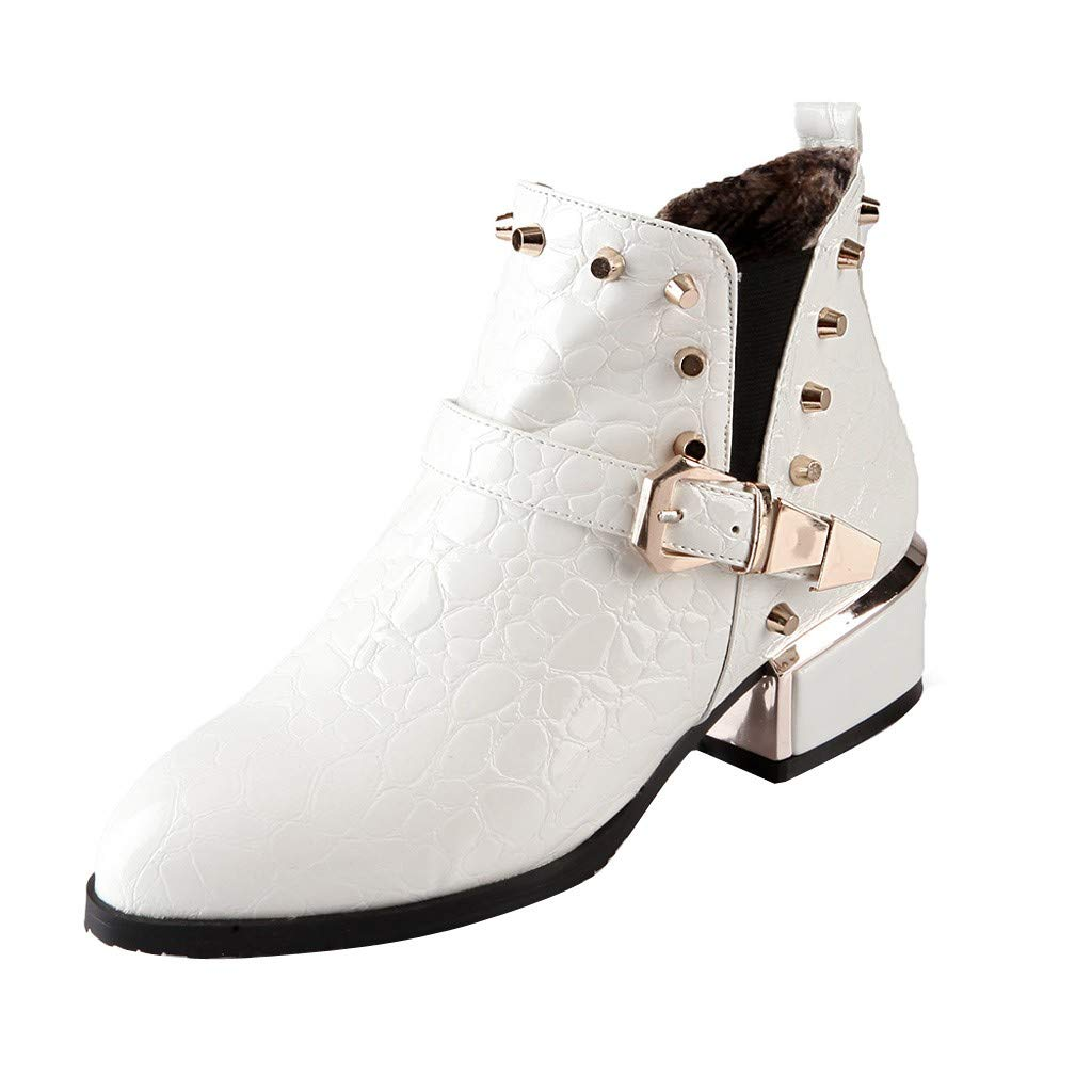 Kauneus Womens Bright Leather Studded Booties Pointed Toe Low Heel Buckle Strap Classic Boots Ladies Ankle Boot White by Kauneus Fashion Shoes