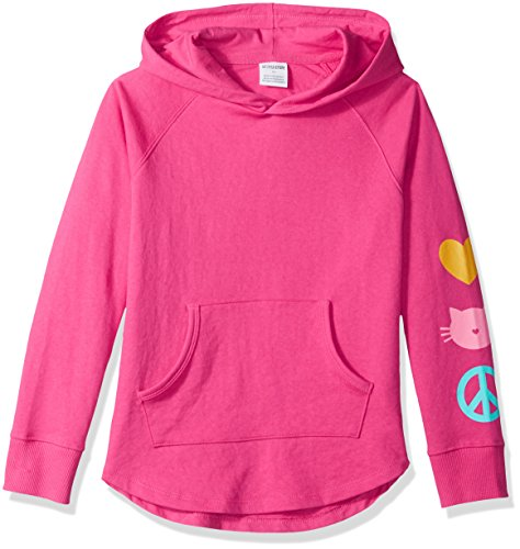 Spotted Zebra Big Girls' French Terry Pullover Hoodies, Cat Icon, Medium (8) ()