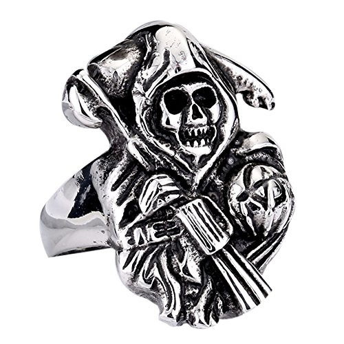 Zovivi Men's Biker Stainless Steel Grim Reaper Skull Death God Punk Rock Ring