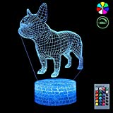led light bar bulldog - 3D Night Light, 7 Colors Changing Smart Switch Remote Control USB & Battery Powered Bulldog Toy 3D Crackle LED Desk Lamps Perfect Birthday Christmas Party Gift for Baby Kid Boy Girl Friend