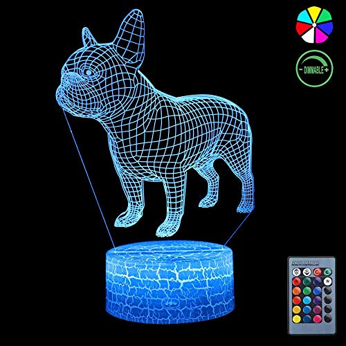 3D Night Light, 7 Colors Changing Smart Switch Remote Control USB & Battery Powered Bulldog Toy 3D Crackle LED Desk Lamps Perfect Birthday Christmas Party Gift for Baby Kid Boy Girl Friend ()
