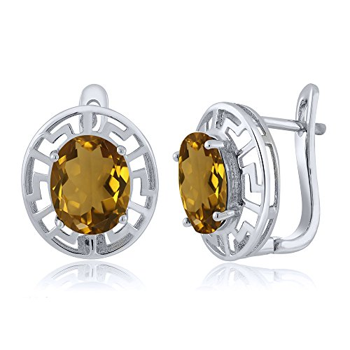925 Sterling Silver Greek Key - Gem Stone King 4.00 Ct Oval Whiskey Quartz Greek Key 925 Sterling Silver Earrings