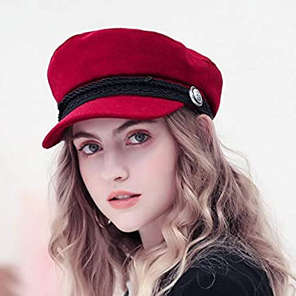 Amazon.com: Yichener Trend Winter Hats for Women French Style Wool Bakers Boy Hat Female Cool Baseball Cap Black Visor Hat Gorras Casquette: Sports & ...