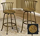 New Bronze Finish 24'' or 29'' Seat Height Bar Stool featuring Cheetah Print themed seat cushion!