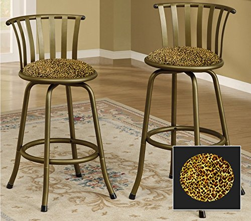 New Bronze Finish 24'' or 29'' Seat Height Bar Stool featuring Cheetah Print themed seat cushion! by The Furniture Cove