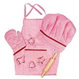 Bigjigs Toys Pink Chef's Dress Up Set with Baking Accessories