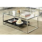 Furniture of America Gacelle Contemporary Glass Top Coffee Table, Black