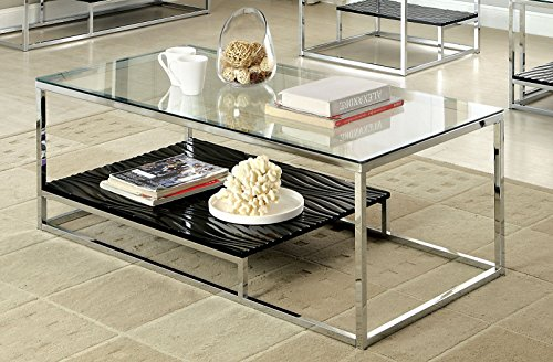 Furniture of America Gacelle Contemporary Glass Top Coffee Table, Black (White Glass Top Coffee Table)