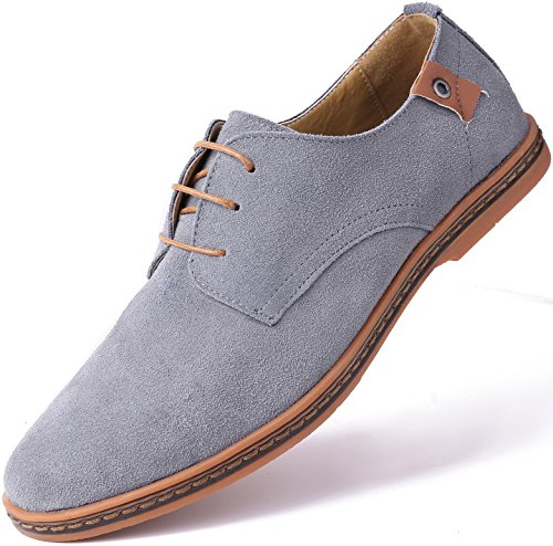 Marino Suede Oxford Dress Shoes for Men – Business Casual Shoes – Light Gray- 12 D(M) US