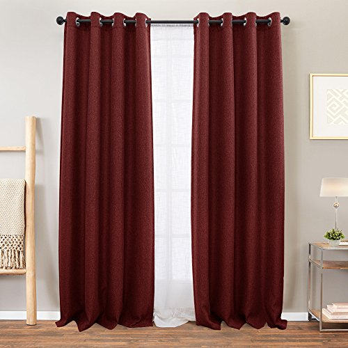 Moderate Blackout Linen Textured Curtains for Bedroom 63 inch Length Window Curtain Panels Living Room Darkening Drapes Window Treatment Set, 1 Pair, Burgundy Red