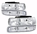 4 Piece Replacement Front Driving Park Head Light with Turn Signal Bumper Lamps Clear Lens For Chevy Silverado