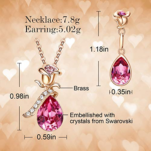 CDE Rose Flower Jewelry Set for Women Hypoallergenic 18K Rose Gold /White Gold Plated Ladies Necklace Embellished with… 6
