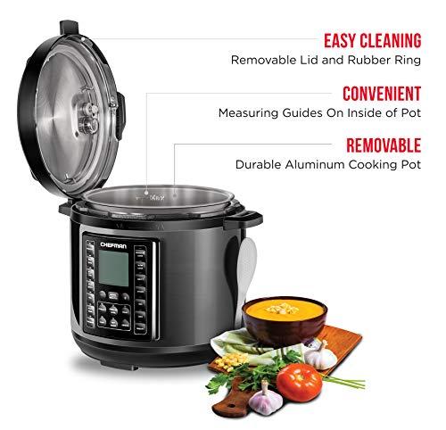 Chefman 6 Multicooker 14 Multifunctional Rice Yogurt, Soup/Broth Digital Quart