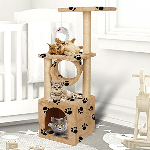 Yohoz 36in Deluxe Faux Fur Level Cat Tree Condo Furniture Climbing Activity Tower Scratching Scratcher Post Kittens Pet Play House and Tunnel Play Toy (Paw) by Yohoz (Image #1)