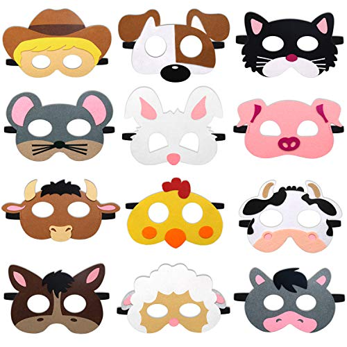 CiyvoLyeen Farm Animal Party Masks Barnyard Animal Felt Masks for Petting Zoo Farmhouse Theme Birthday Party Favors Kids Costumes Dress-Up Party Supplies(12 Pieces) ()