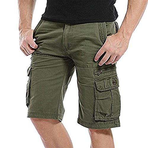 NiuZi Men's Loose Fit Twill Cargo Shorts Cotton Multi-Pocket Outdoor Lightweight Cargo Camouflage Shorts (K038 Army Green, Size 38=Label 40) ()