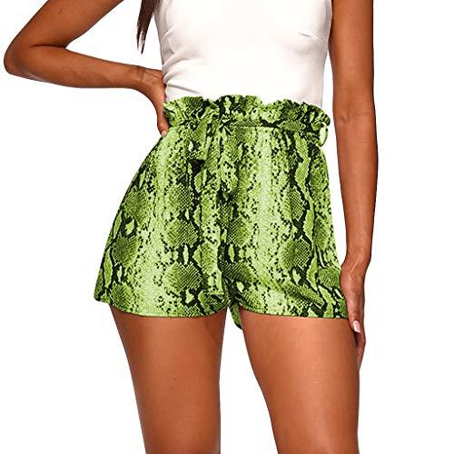 Yucode Women Plus Size Casual Elastic Band Belt Snake Print High Waist Mini Short Lady Pants (Croft And Barrow Womens Elastic Waist Pants)