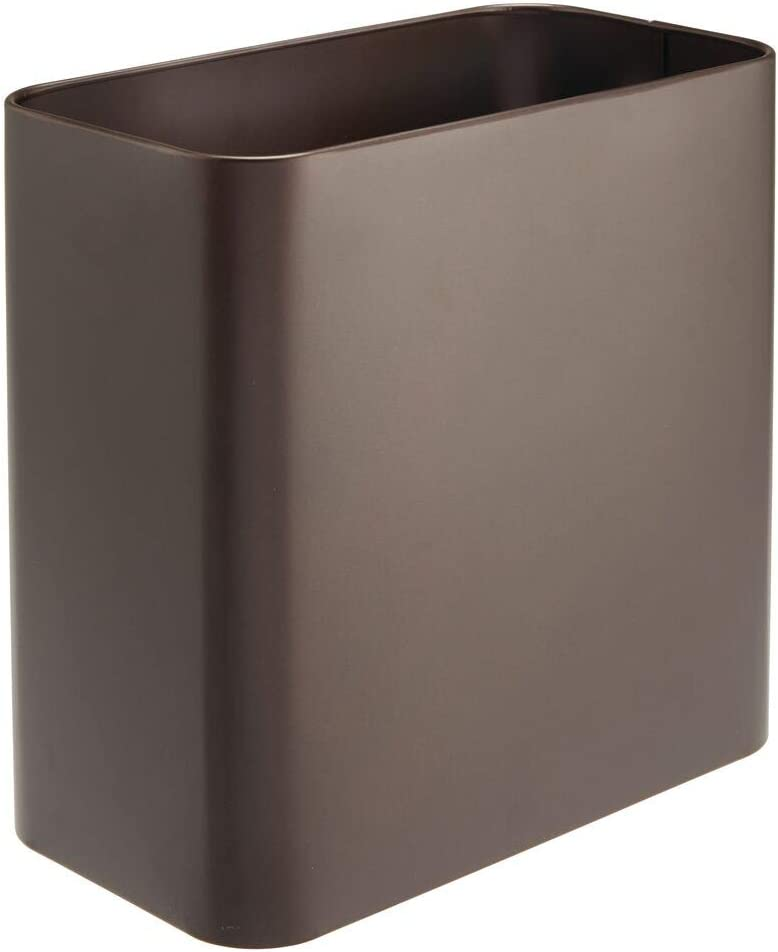 mDesign Rectangular Metal Small Trash Can Wastebasket, Garbage Container Bin - for Bathrooms, Powder Rooms, Kitchens, Home Offices - Bronze