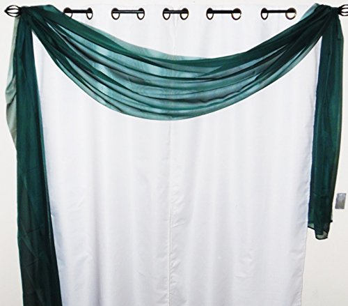 GorgeousHome *Different Colors* 1 Elegant Scarf Valance Swag Voile Sheer Curtain Window Topper Dressing 216' inch long (Hunter green)