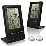 2 Pack Indoor Humidity Monitor, SENHAI Digital Hygrometer Thermometer Monitor Home Weather Station with LCD Display Alarm Clock Calendar Function, 2 Extra Button Cells Review
